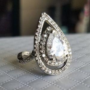 Swarovski Elements 925 Silver Flame Ring NEW